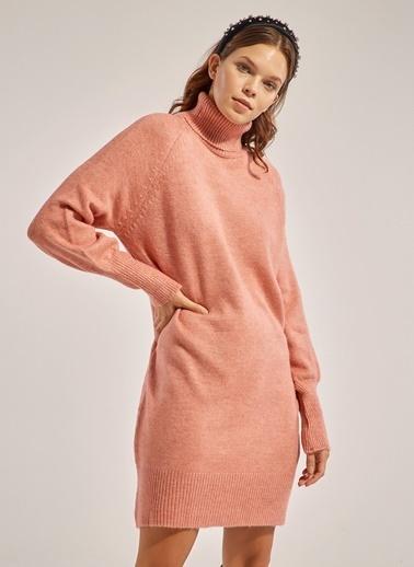 Monamoda Balıkçı Yaka Reglan Kol Tunik Elbise Pudra